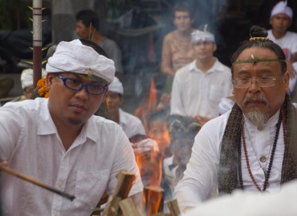 Ratu & his son Gede at a Fire Ceremony