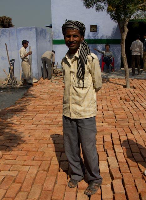 man on bricks
